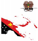 picture of papua new guinea  - Flag and state seal of the Independent State of Papua New Guinea overlaid on detailed outline map isolated on white background - JPG