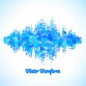 stock photo of waveform  - Christmas sound and music waveform made of different scattered snowflakes - JPG