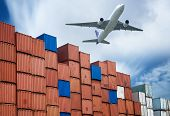 stock photo of logistics  - industrial port with containers and air for logistic concept - JPG