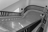 stock photo of bannister  - interior design of stair step and bannister - JPG