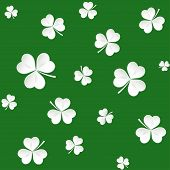 stock photo of saint patrick  - Seamless pattern with lucky clovers - JPG