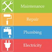 foto of electricity  - Four colorful banners with house works icons - JPG