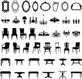 image of chandelier  - Set of different furniture silhouettes - JPG