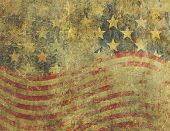 image of concrete  - A US American flag design in a grunge style heavily distressed damaged and faded with the appearance of being old paint on concrete - JPG