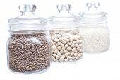 image of legume  - Closeup of legumes jar isolated on white background - JPG