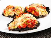 image of portobello mushroom  - Stuffed portobello mushrooms with tomatoes and yellow cheese  - JPG