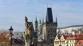 foto of nicholas  - Panoramic view from Charles Bridge toward Lesser Town towers Saint Nicholas Cathedral and Prague Castle with statues of St - JPG