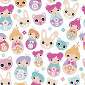 picture of geisha  - Seamless adorable Japanese geisha girls bunny cats and cherry blossom illustration background pattern for kids in vector - JPG