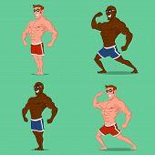 image of bodybuilder  - Set of bodybuilders - JPG