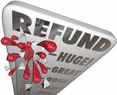 image of maxim  - Refund word on a thermometer to measure or illustrate tax return money back or savings on a purchase or merchandise - JPG
