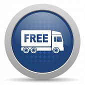foto of free-trade  - free delivery blue glossy web icon  - JPG