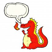 stock photo of fire-breathing  - cartoon fire breathing dragon with speech bubble - JPG