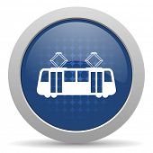 foto of tram  - tram blue glossy web icon  - JPG