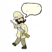 pic of hunters  - cartoon big game hunter with speech bubble - JPG