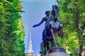 image of paul revere  - Boston Paul Revere Mall statue and Old North church background Massachusetts - JPG