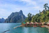stock photo of raft  - Floating residence raft in Khao Sok National Park - JPG