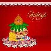 stock photo of kalash  - illustration of  mangal kalash for Akshaya Tritiya celebration in red background - JPG