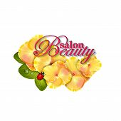 stock photo of naturalist  - Beauty salon identity naturalistic yellow hydrangea flower with leaves - JPG