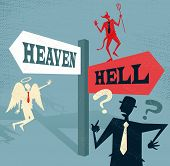 stock photo of hells angels  - Great illustration of Retro styled Businessman at a Heaven and Hell Signpost with both and Angel and a Devil to help make a difficult moral dilemma - JPG