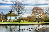 pic of duck  - Bandstand and duck pond in picturesque Greenhead park - JPG