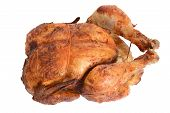 pic of roast chicken  - isolated top view barbecue roast chicken on white - JPG