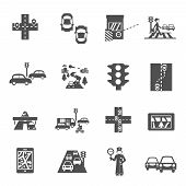 pic of policeman  - Traffic icons black set with cars navigation and policeman isolated vector illustration - JPG