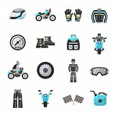 pic of speedometer  - Motor bike rider flat icons set with helmet speedometer wheel isolated vector illustration - JPG
