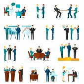 pic of collaboration  - Business collaboration teamwork and agreement flat icons set isolated vector illustration - JPG
