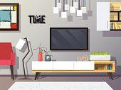 stock photo of tv sets  - Living room interior concept with modern furniture set flat vector illustration - JPG