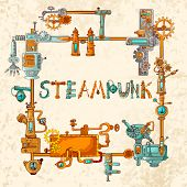 foto of gear  - Steampunk frame with industrial machines gears chains and technical elements vector illustration - JPG