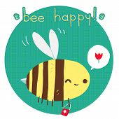 picture of bee cartoon  - The vector greeting card with cartoon funny bee for ui - JPG