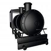 picture of locomotive  - Black steam locomotive isolated over white 3d render square image - JPG