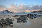 picture of lofoten  - Bright white sand and crystal blue water make this a popular destination for holiday makers on Lofoten - JPG