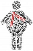 image of obesity children  - Word cloud illustration related to childhood obesity - JPG