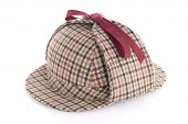 image of sherlock holmes  - British Deerhunter or Sherlock Holmes cap on white background - JPG