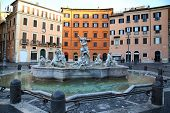 picture of piazza  - Piazza Navona Neptune Fountain in Rome Italy - JPG