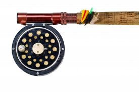 picture of fly rod  - Antique fly fishing reel flies and rod isolated on white background - JPG