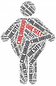 picture of obese children  - Word cloud illustration related to childhood obesity - JPG