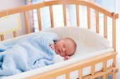 Newborn Baby Boy In Hospital Cot poster