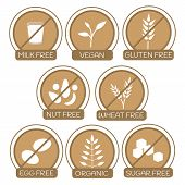 Постер, плакат: Allergens Free Products Icons