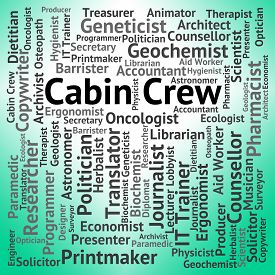 stock photo of cabin crew  - Cabin Crew Indicating Airline Steward And Attendant - JPG
