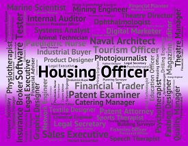 stock photo of house representatives  - Housing Officer Representing Apartment Words And Employee - JPG