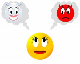 foto of angry smiley  - Yellow neutral female smiley hesitating between angel and devil - JPG
