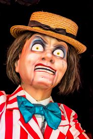 pic of clowns  - Scary clown robot in clown mask on Halloween day - JPG