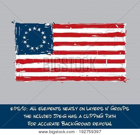 American Betsy Ross Flat Flag - Vector Artistic Brush Strokes and Splashes. Grunge Illustration all elements neatly on layers and groups. The JPEG has a clipping path for accurate background removal