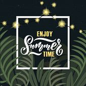 Vector Illustration Of Summer Party Poster With Palm Trees And Jungles. Summer Party Badge/tag/icon poster