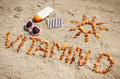 Medical Pills, Inscription Vitamin D And Accessories For Sunbathing At Beach, Prevention Of Vitamin poster