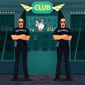 Bouncers Standing Near Entrance To The Night Club poster