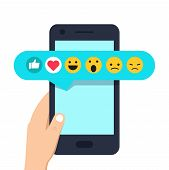 Human Hand Holding Mobile Phone With Social Network Feedback Emoticons : Thumbs Up, Like, Smile, Ang poster