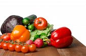 Vegetables On A Table Isolated On A White Background .fresh Vegetables. Colorful Vegetable . Healthy poster